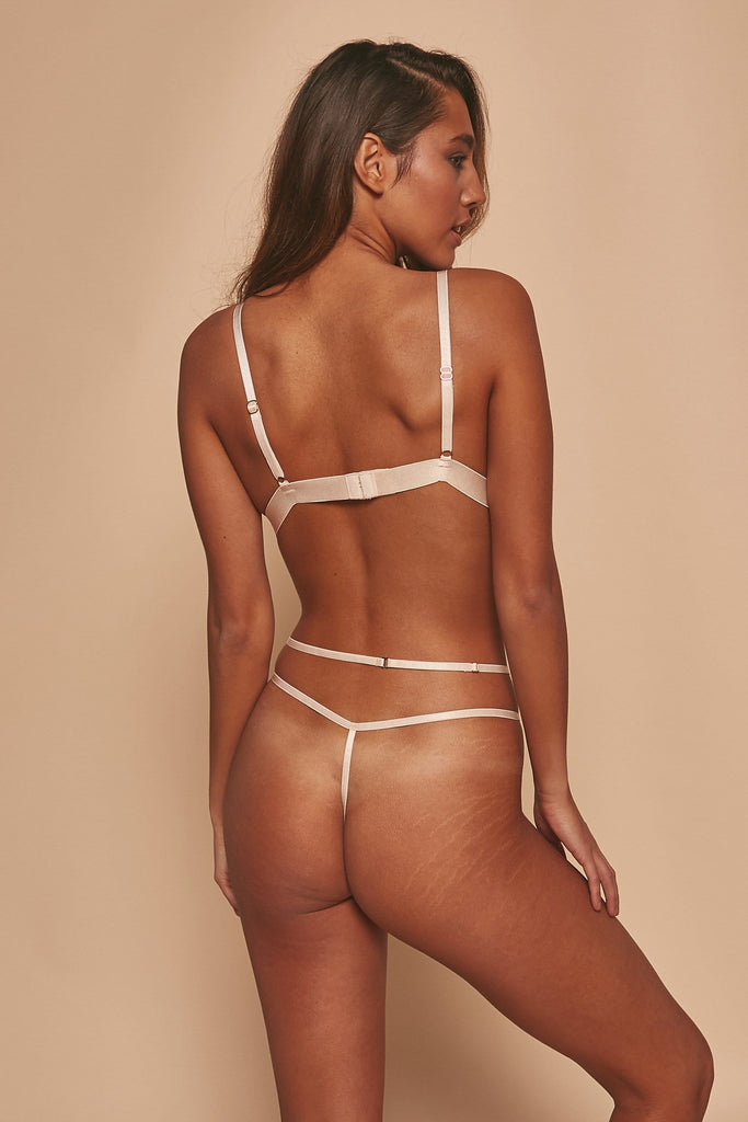 Wolf & Whistle Grace Blush Embroidered Thong
