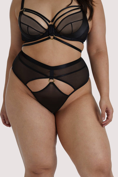 Hustler Black Sierra Gold Ring Curve Thong