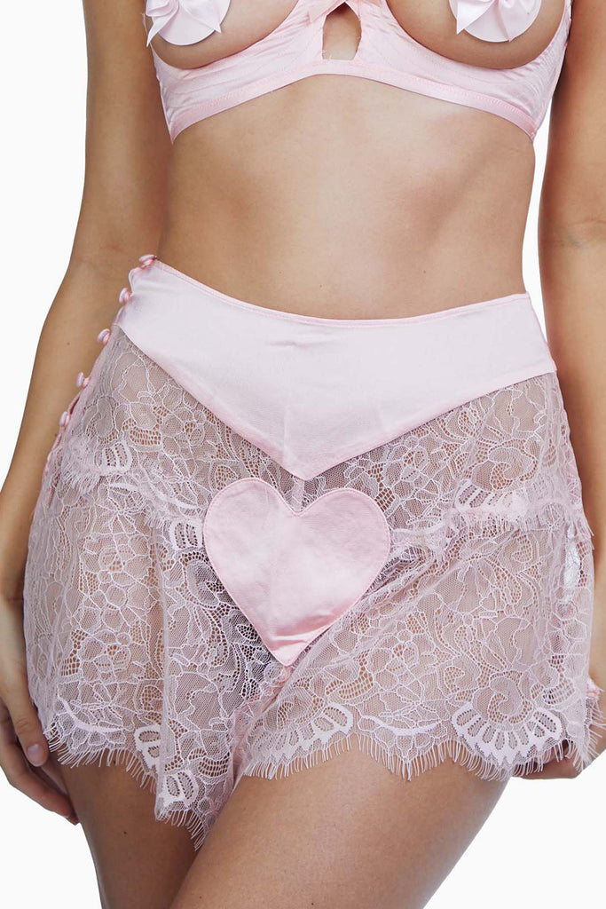 Bettie Page Doris Peach Heart French Knicker Briefs