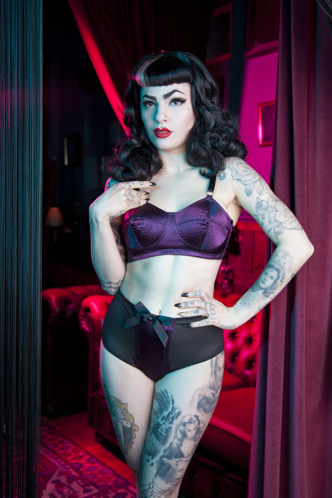 Bettie Page Plum Z Stitch High Waist Brief