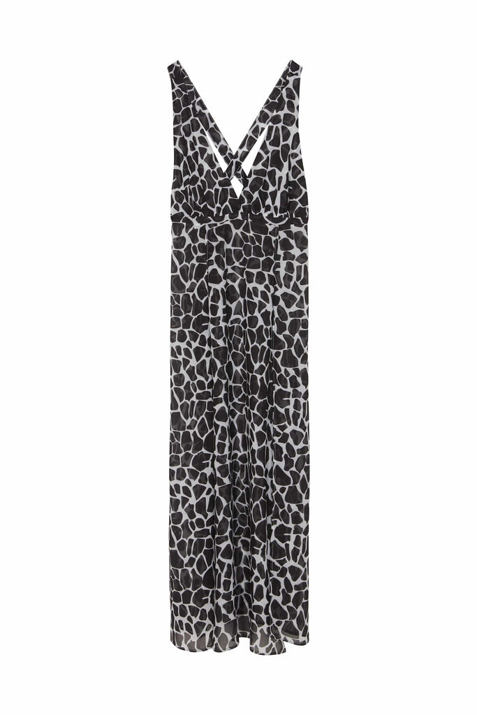 Wolf & Whistle Cross back maxi beach dress white giraffe