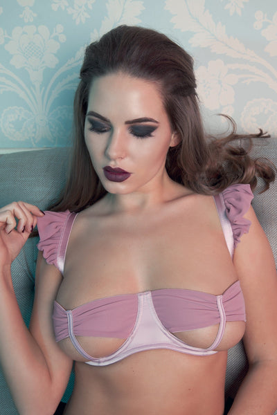 Lana Heather Satin Bow Open Bra DD - G Cup