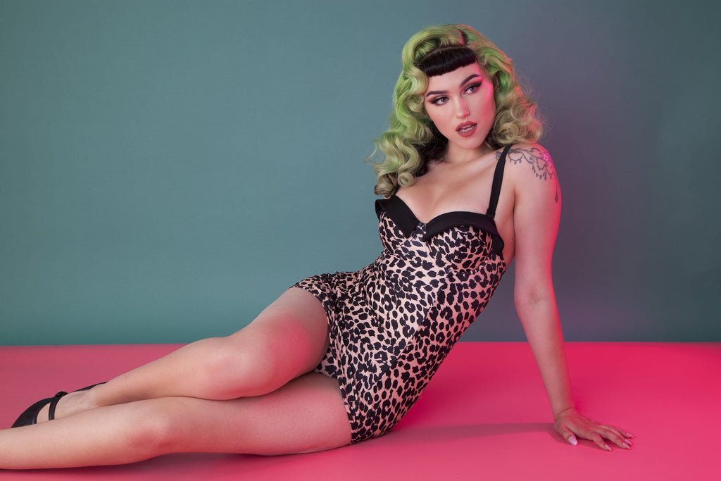 Collectif Leopard Skirted swimsuit