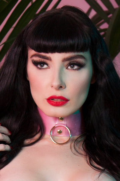 Bettie Page Pink Latex Ring Choker