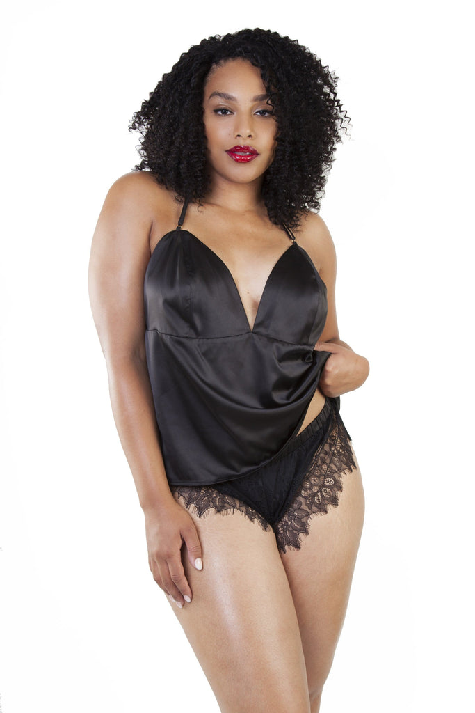 Gabi Fresh Belle Black Cami Top & French Knicker Set