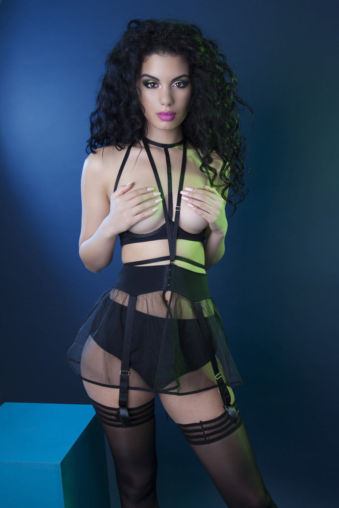 Peek & Beau Caia Peplum Skirted Harness Suspender