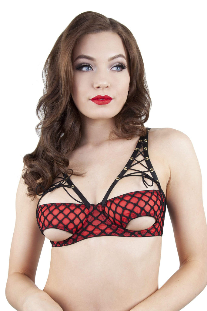 Peek & Beau Callie	Red Fishnet Open Cup Bra A-G Cups