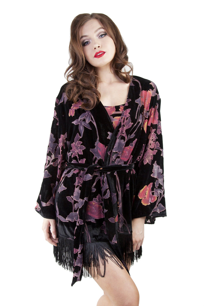 Francois Black Deco Devore Robe