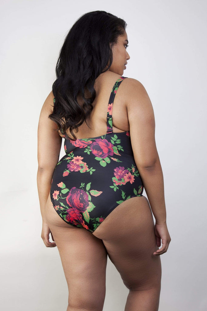 Wolf & Whistle Floral lace up swimsuit curve
