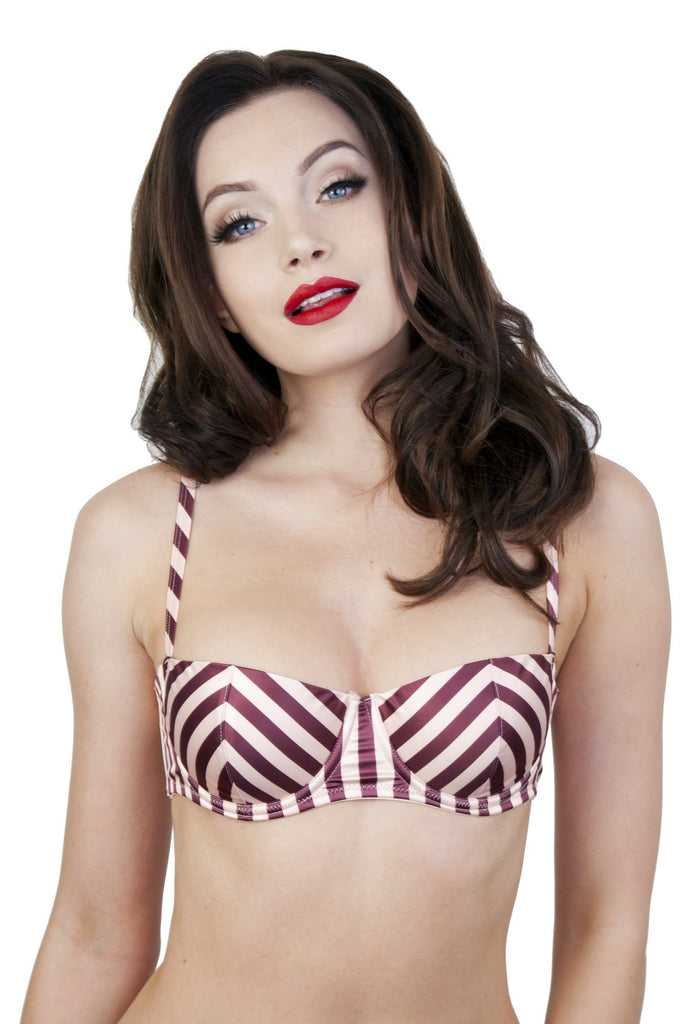 Beatrix Red Placement Stripe Demi Bra A-D cups