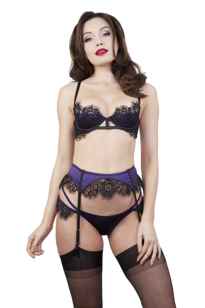 Sheba Purple Lace Suspender Belt