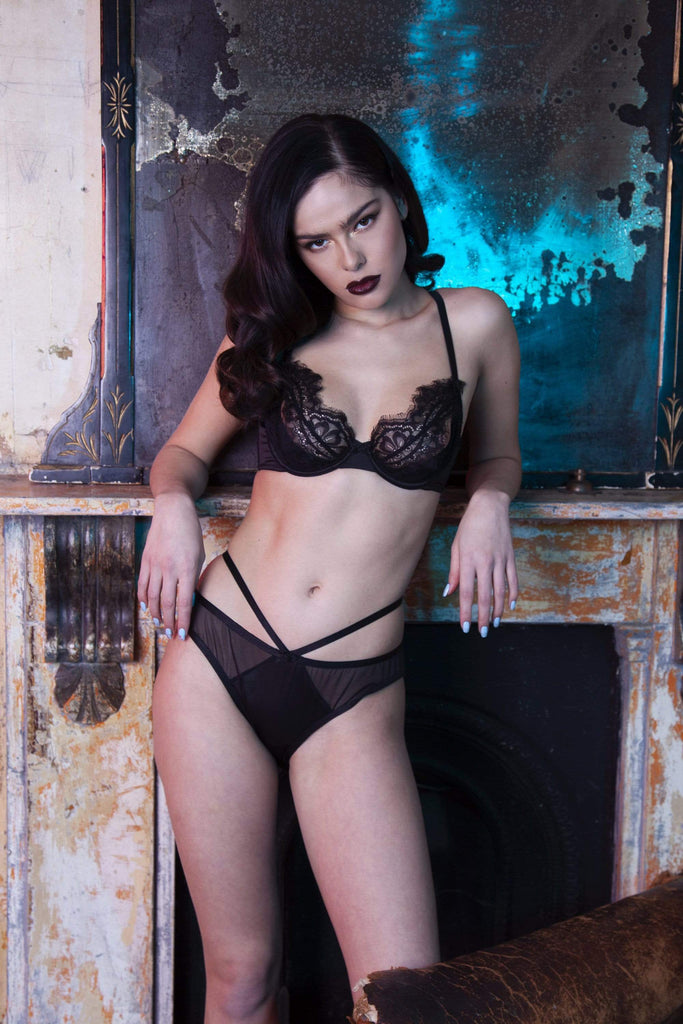 Peek & Beau Minnie Eyelash Lace Open Cup Bra Black A - E