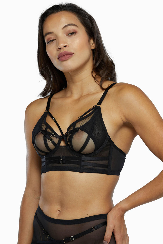 Eddie Black Crossover Wrap Bra Core