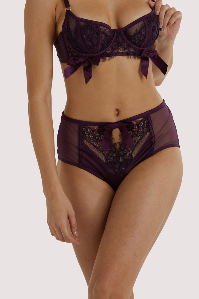 Playful Promises Josephine Aubergine Corded Lace High Waist Knicker