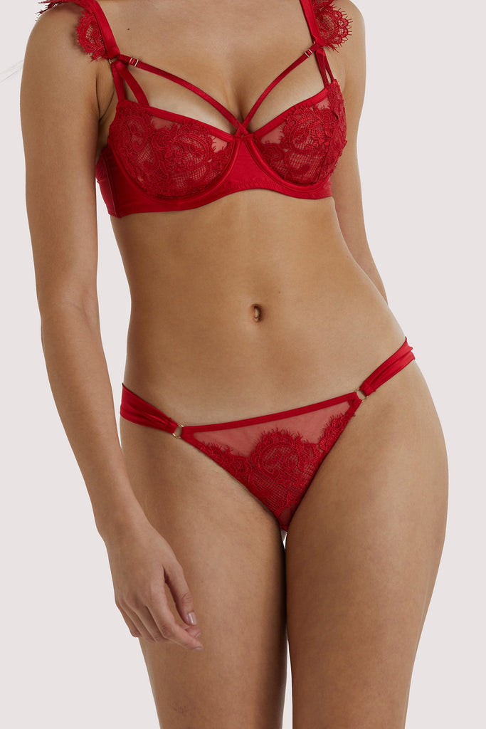 Playful Promises Anneliese Red Satin Net and Lace Brazilian Brief