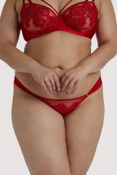 Playful Promises Anneliese Red Satin Net and Lace Brazilian Brief Curve
