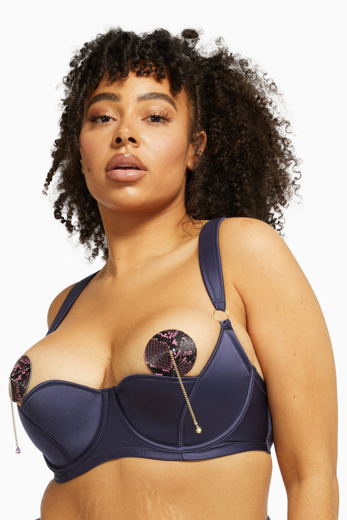 Philly Navy Tulip Satin Bra Curve