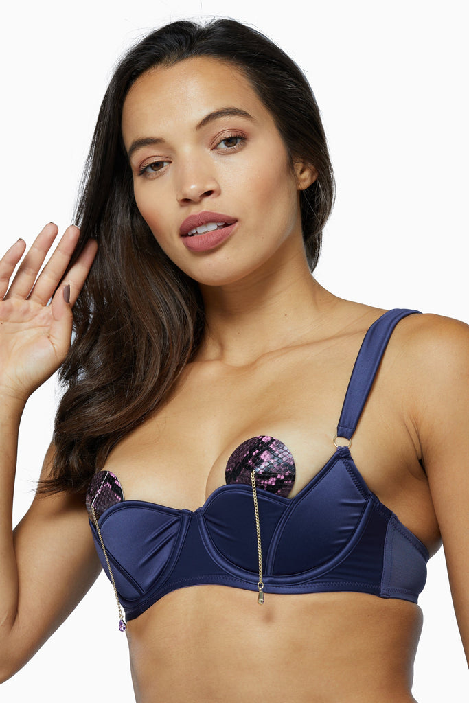 Philly Navy Tulip Satin Bra