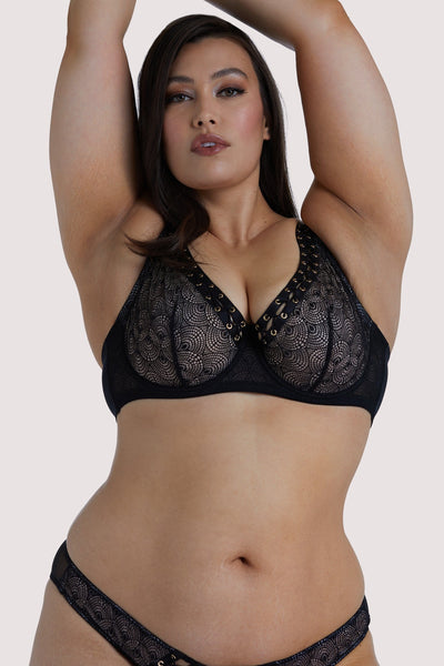 Playful Promises Florence Black High Apex Lattice Curve Bra