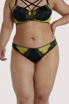 Playful Promises Indigo Lime Satin and Lace Picot Brief Curve