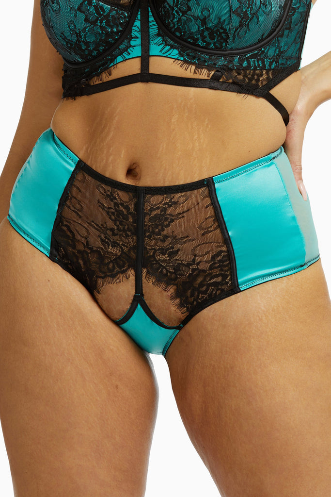 Playful Promises Henrietta Teal Lace Overlay High Waist Curve Brief
