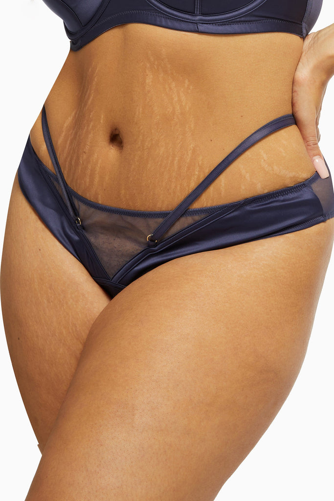 Philly Navy Tulip Curve Satin Thong