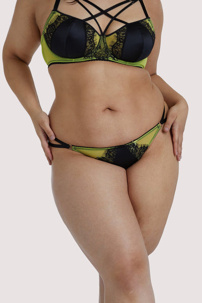Playful Promises Indigo Lime Strappy Thong Curve