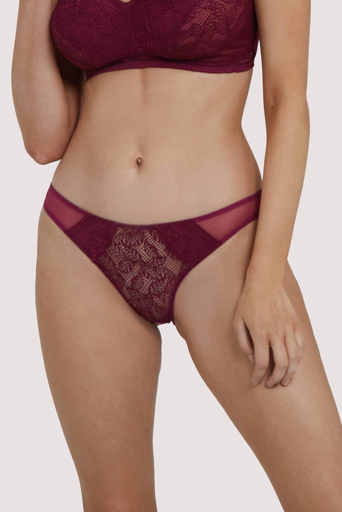 Deja Day Emma Merlot Brazilian Lace Brief