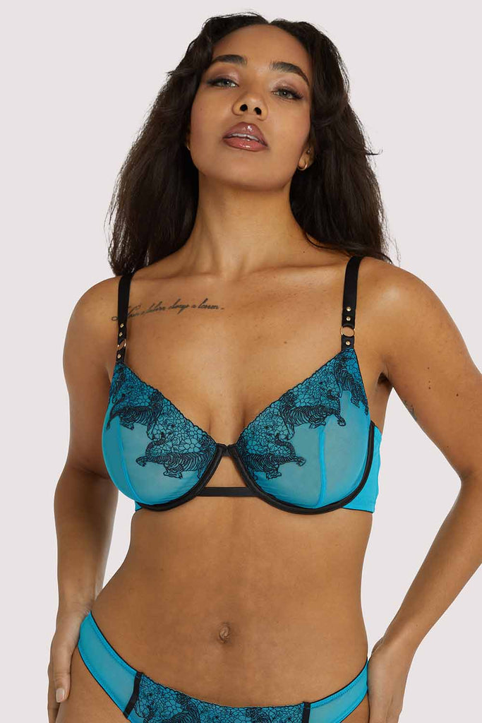 Playful Promises Tiger Blue Fuller Bust Bra