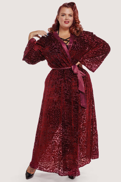 FFFB Wine Devore Gown Curve