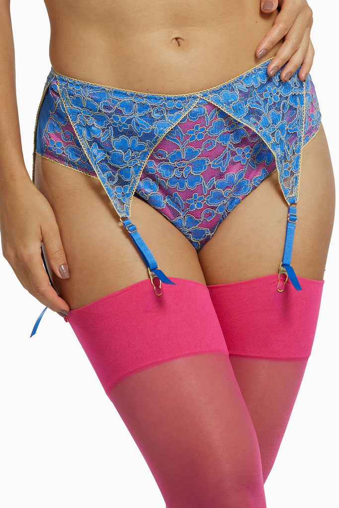 Regalia Aviyah Contrast Lace Suspender High Waist Brief