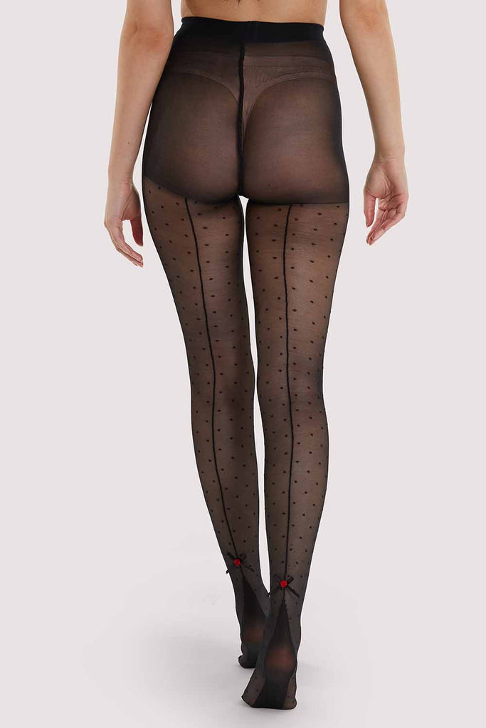 Dotty Seamed Tights With Bow Black AUS 8 - 22