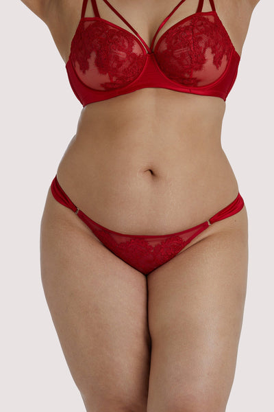 Playful Promises Anneliese Red Satin Net and Lace Thong Curve