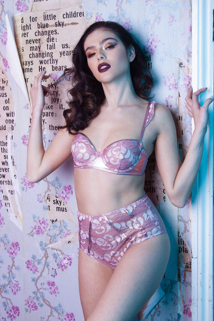 Peek & Beau Quinn Pink leatherette and lace bra A- E