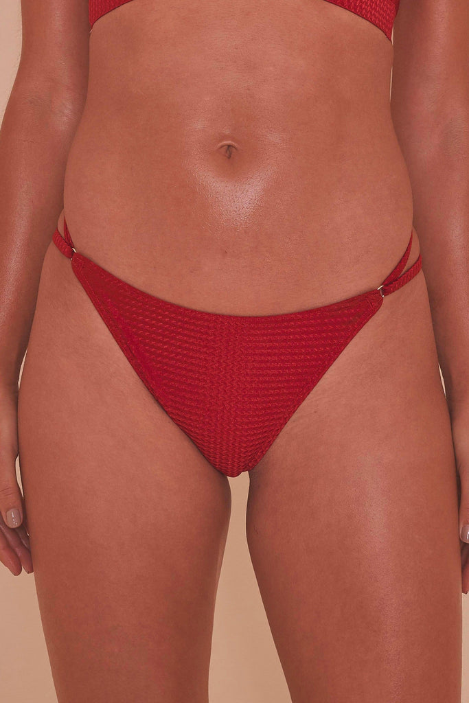 Wolf & Whistle Red High Shine Strap High Leg Brazilian Brief