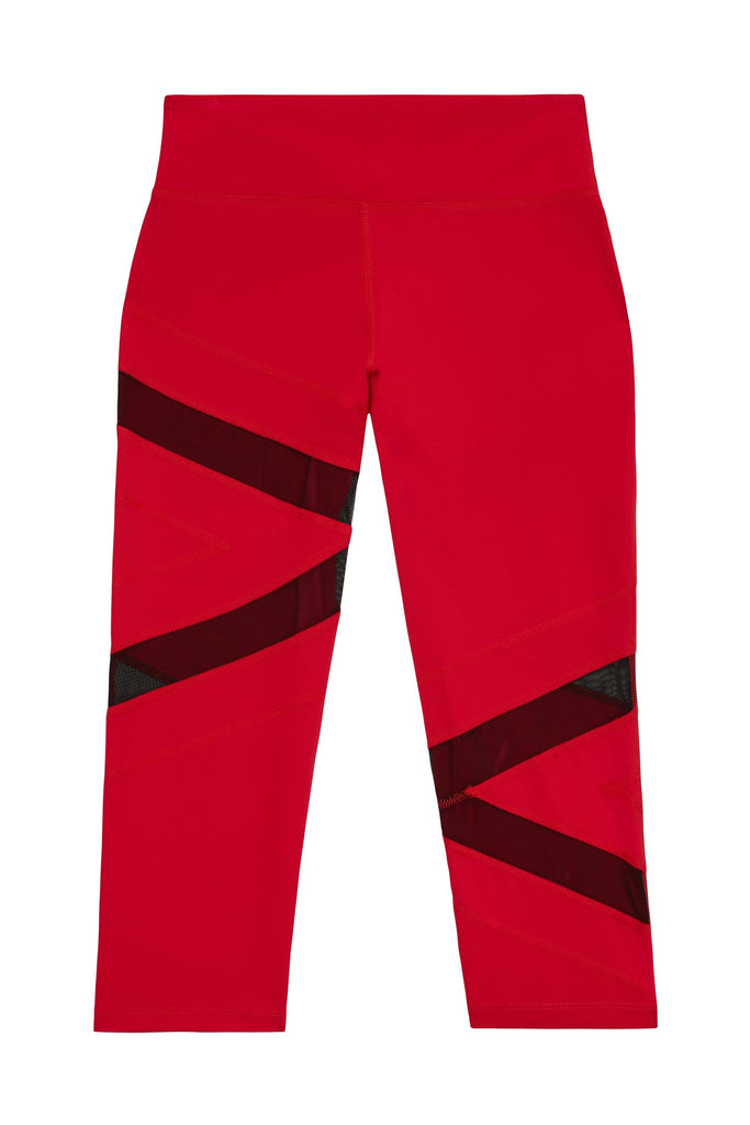 Wolf & Whistle Mesh Panel Crop Leggings Red