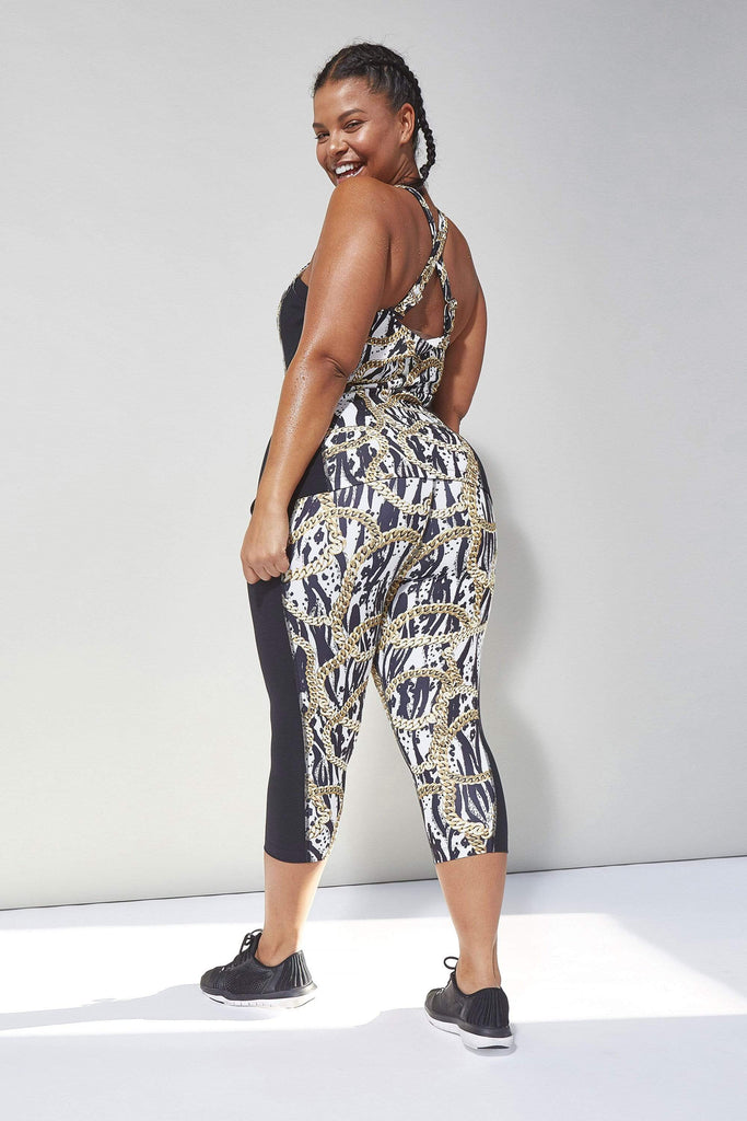 Wolf & Whistle Curve Zebra Chain Cropped Leggings