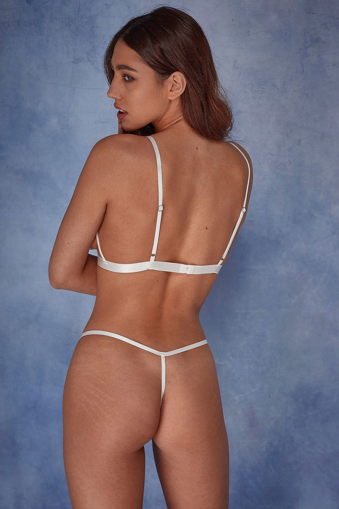 Wolf & Whistle Billie applique thong ivory