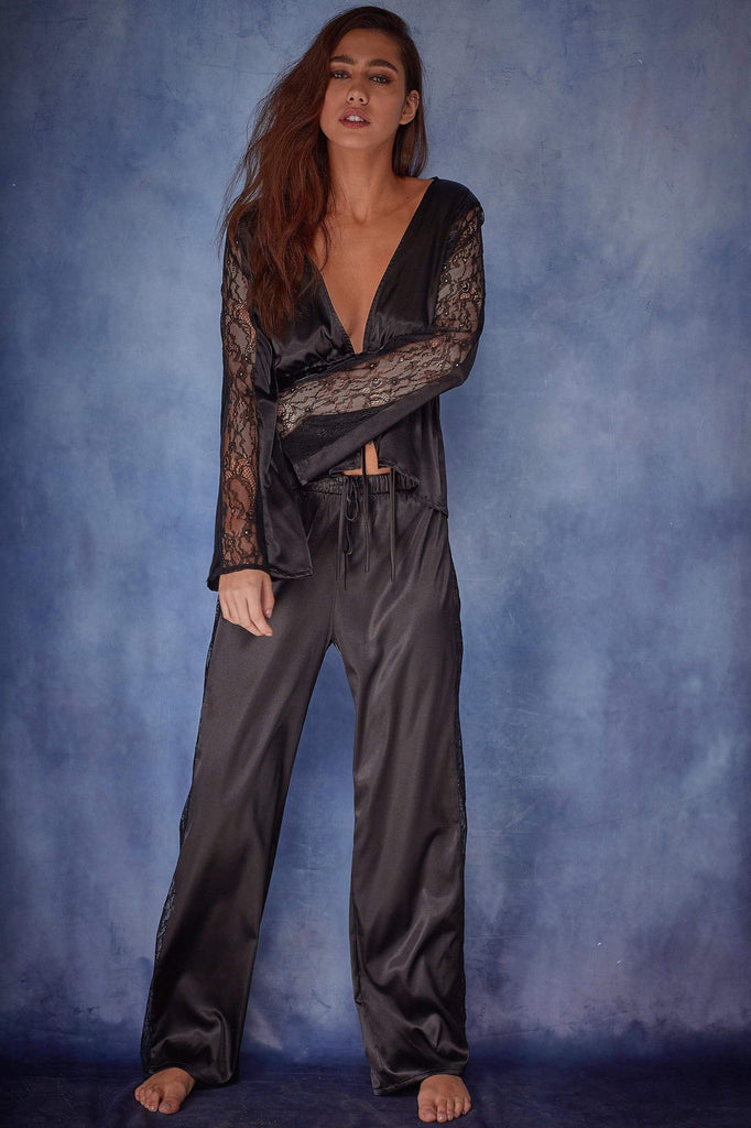 Wolf & Whistle India Satin tie front PJ set