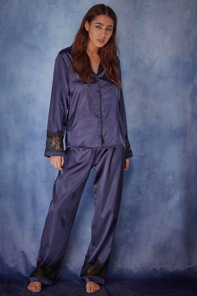 Wolf & Whistle Emmy Satin Lace Trim PJ Set