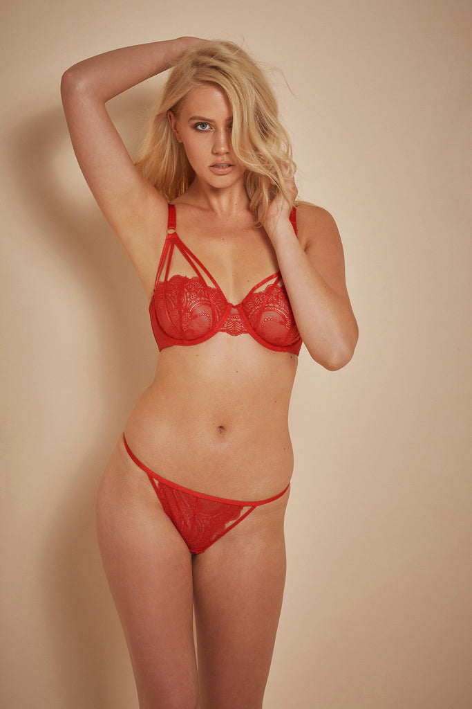 Wolf & Whistle Maribel Red Lace Overlay Strap Bra B - F