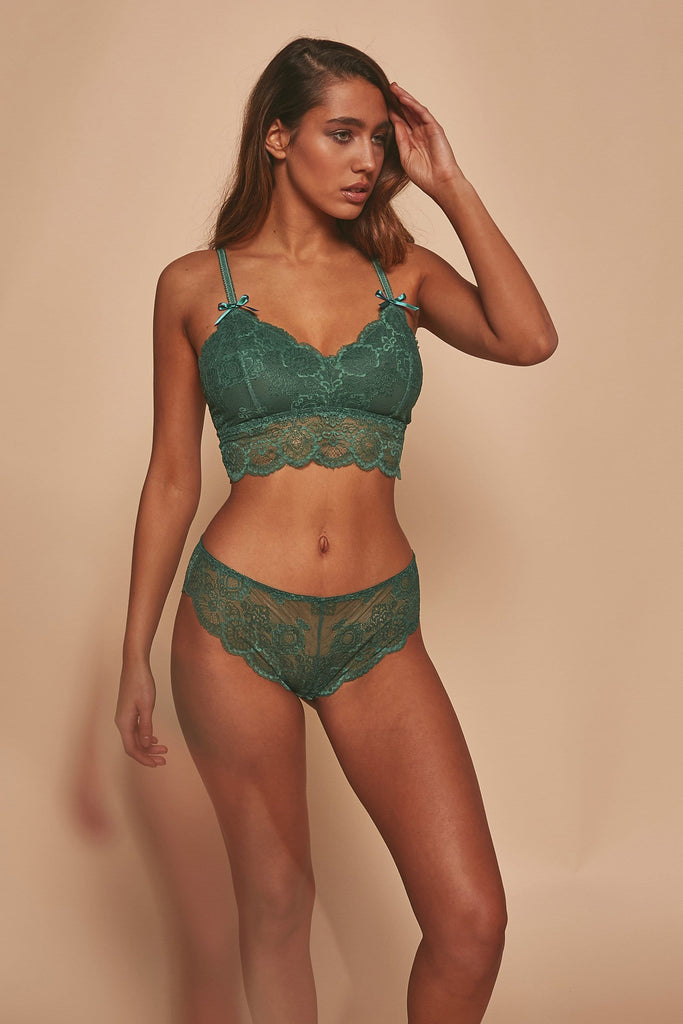 Wolf & Whistle Ariana Lace Bralet Green