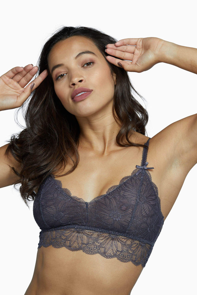 Wolf & Whistle Ariana Everyday Lace Bralette Steel Grey