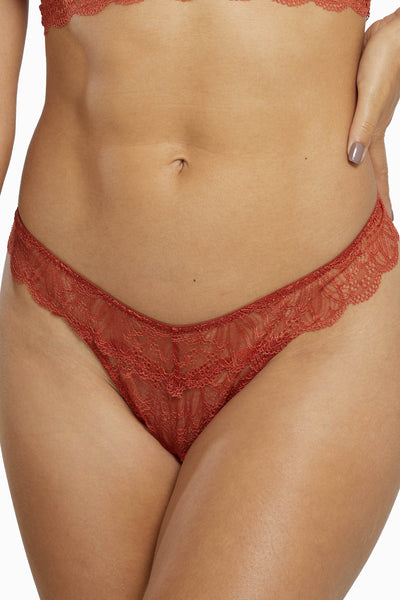 Wolf & Whistle Ariana Everyday Lace Thong Intense Rust