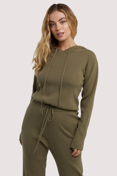 Wolf & Whistle Lounge Khaki Knitted Rib Cropped Hoodie