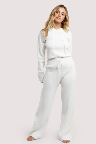 Wolf & Whistle Lounge Ivory Knitted Rib Trousers