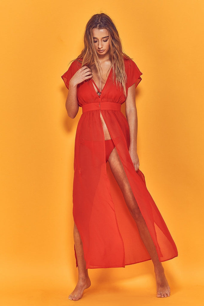 Wolf & Whistle Zahida Open Front Maxi Beach Dress Red