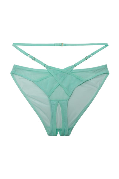 Playful Promises Eddie Aqua Crossover Wrap Curve Crotchless Brief