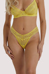 Wolf & Whistle Ariana Yellow Everyday Lace Thong