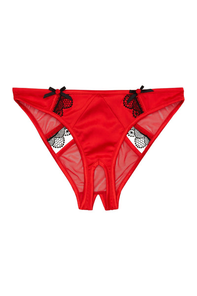 Arlene Curve Red Satin Black Lace Ouvert Brief